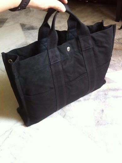 Authentic Hermes Fourre Tout MM Hand Tote Black Canvas 70b24991a2