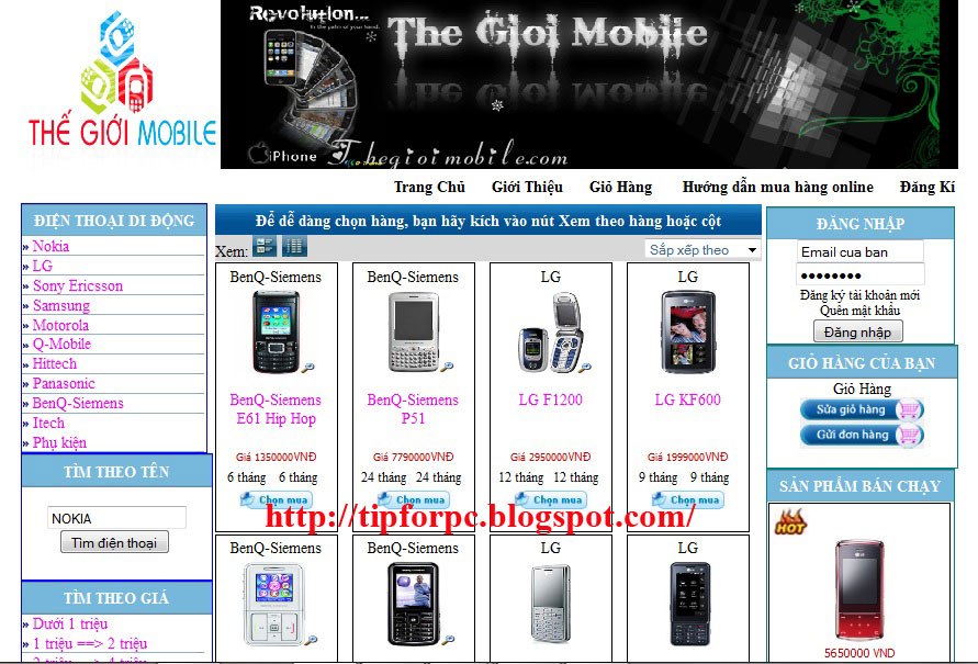 Source code Web Thế giới Mobile bằng Asp.Net + báo cáo