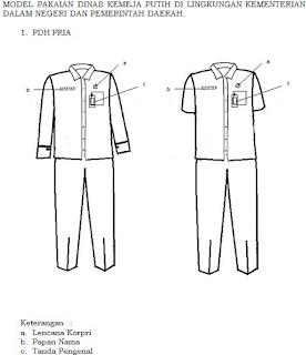 Gambar Model Pakaian Seragam PDH Kemeja Warna Putih Pria