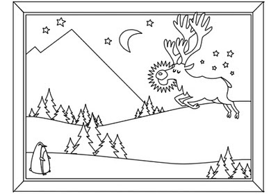 Page 1 - Rudolph winter scene - for Christmas Activity Coloring Book by Robert Aaron Wiley for Microsoft