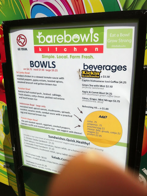 Bare Bowls Kitchen Menu