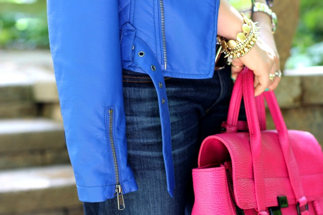 Blue Leather Motorcycle Jacket and 3.1 Phillip Lim Pashli Satchel