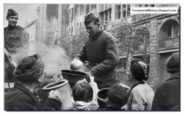 German women depended  Soviet Army for food