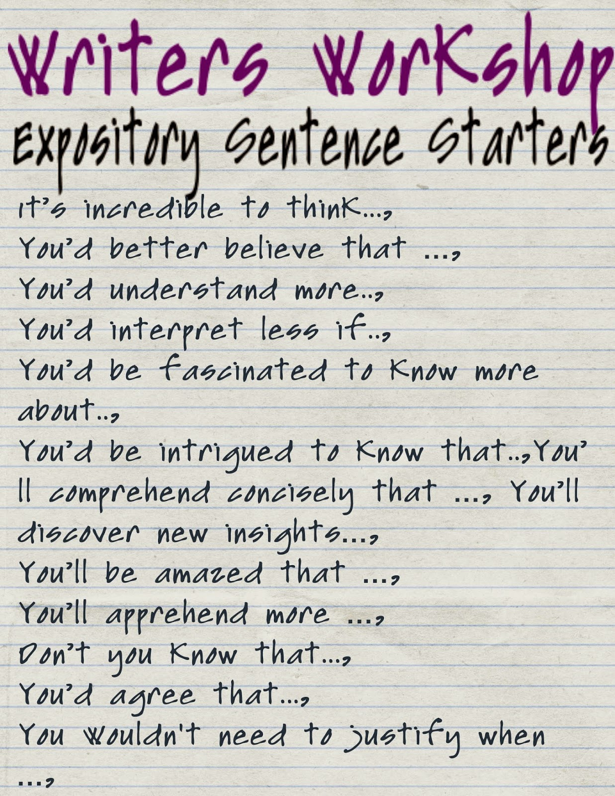 Reading Sage: Sentence Starters Expository Writing