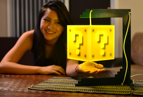 8-bit lit question block lamp