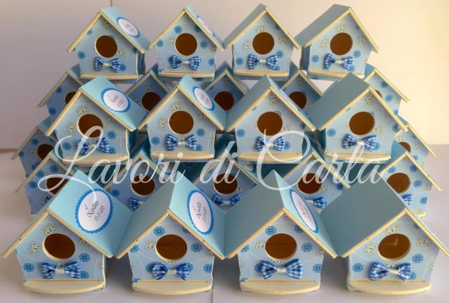 Bomboniere Di Carta Battesimo : Lavori di carta bomboniera battesimo casetta uccellino