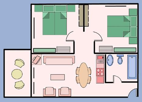 Схема и фото интерьера комнаты