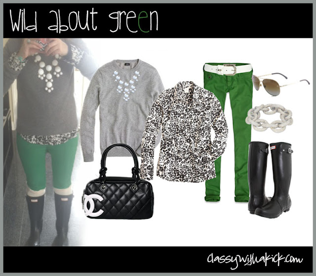 Green Skinny Jeans, Leopard Blouse, Hunter Boots