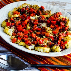 Roasted Cauliflower Slices with Kalamata Olives, Red Pepper, Capers, and Lemon (Low-Carb, Paleo) found on KalynsKitchen.com