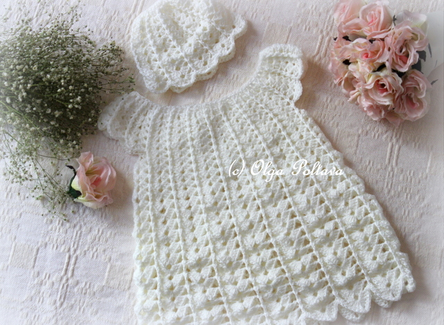 Free Crochet Baby Lacy Hat Pattern : Lacy Crochet: Victorian Crochet Baby Dress and Hat