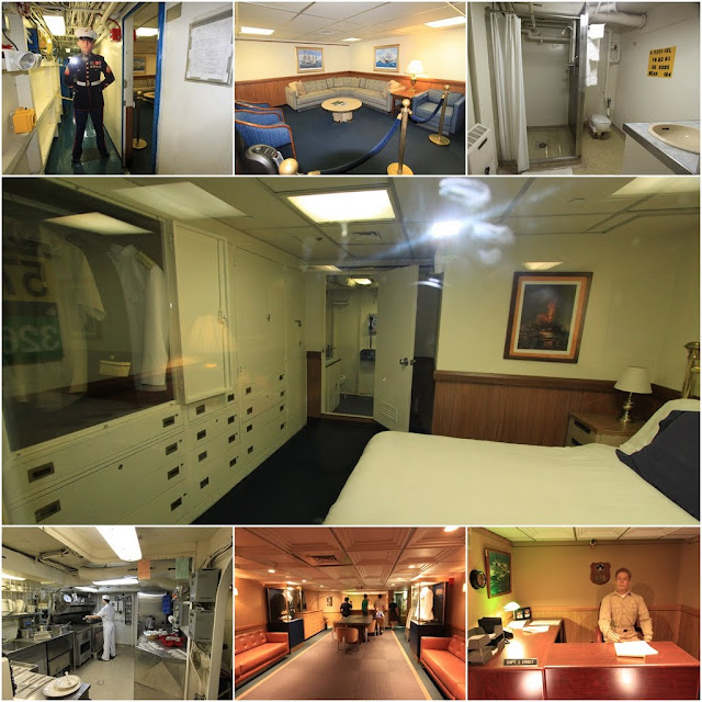 Visiting Captain's room, meeting room and his personal desk at the USS Midway Museum in San Diego, California, USA