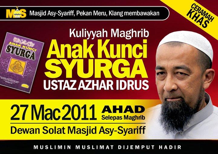 Kuliah Ustaz Azhar Idrus di Kelantan www.mymaktabaty.com