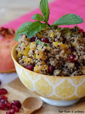 Salade de Quinoa, Mangue, Grenade, Menthe