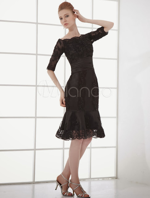 Cocktail Dress Black Mermaid Beading Half Sleeves Organza Cocktail Dress