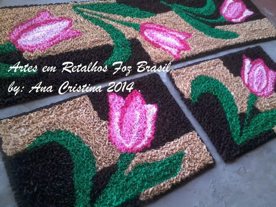 Arte Em Tapete De Retalho : ARTES EM RETALHOS FOZ BRASIL: Tapetes de tulipas em frufru
