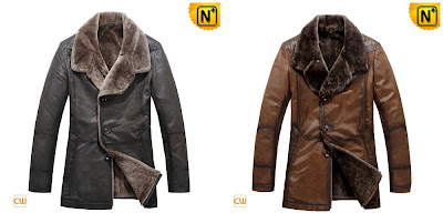 Men Sheepskin Fur Lined Coat