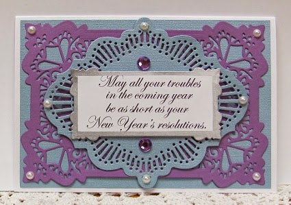 here is a new year card that i made with a squigglefly sentiment this card was published in complete cardmaking magazine with several other squigglefly