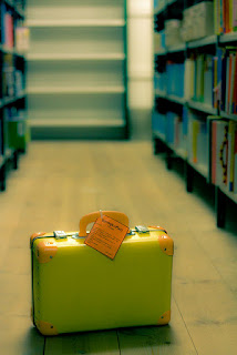 suitcase in library