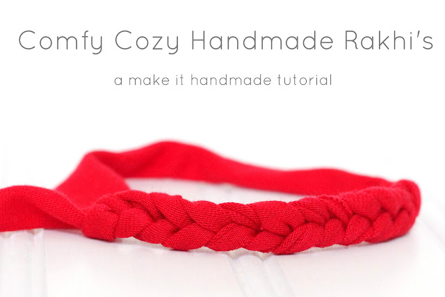 Comfy cozy Rakhi and Bracelets. Make your own rakhi and friendship bracelets using knit fabric. A perfect craft to do with the kids. Tutorial from Make It Handmade for #createwithkids month!