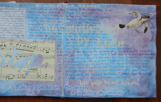 art journal spread, environmental art journal page, Zom Osborne