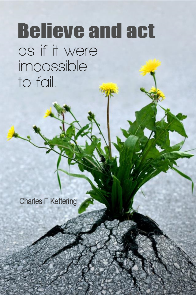 visual quote - image quotation for BELIEF - Believe and act as if it were impossible to fail. – Charles F Kettering