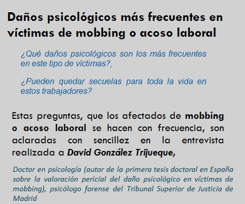MobbingMadrid Daños psicologicos mas frecuentes en víctimas de mobbing o acoso laboral