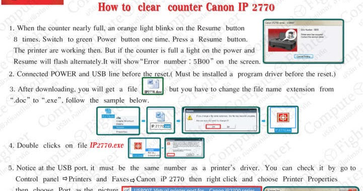 Software Resetter for Printer Canon Pixma ip2770 and