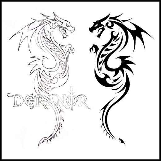 Cool Tribal Dragon Tattoos Design