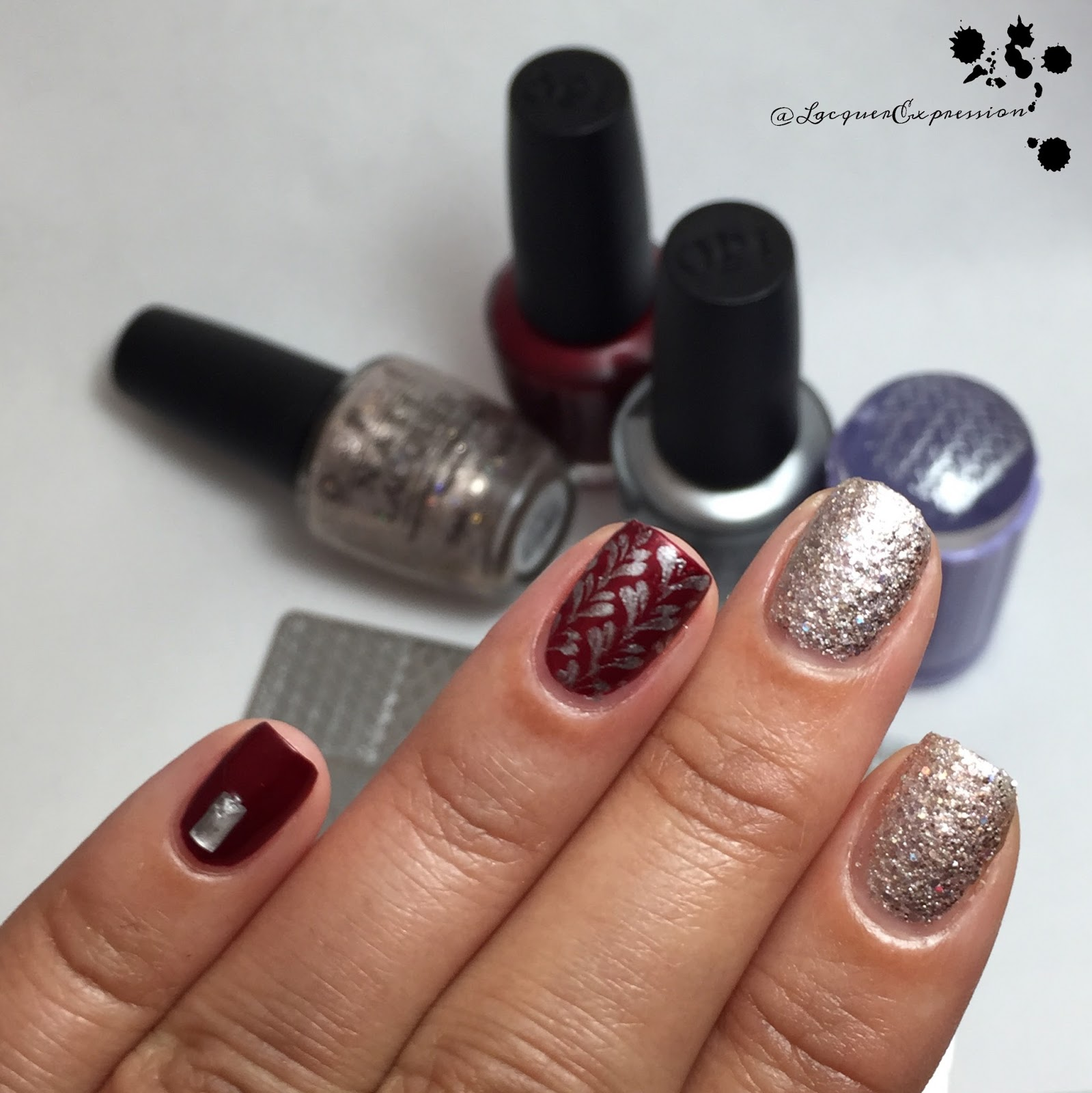 Nail Art - Red, Silver and Glittery Starlight manicure ...