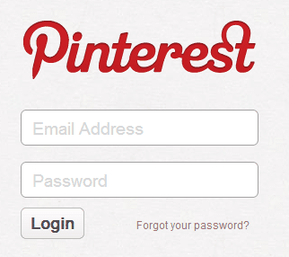 pinterest login forms