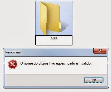 No Windows não é permitido utilizar alguns caracteres para renomear arquivos e pastas
