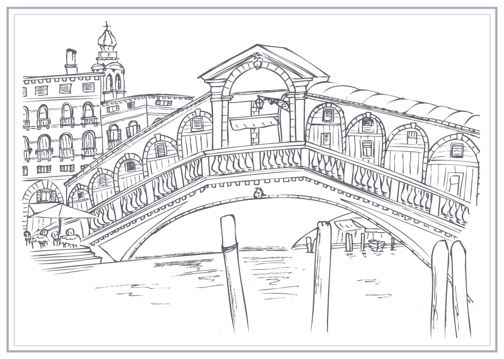 Line Drawing Venice : Helen naylor illustration rialto bridge