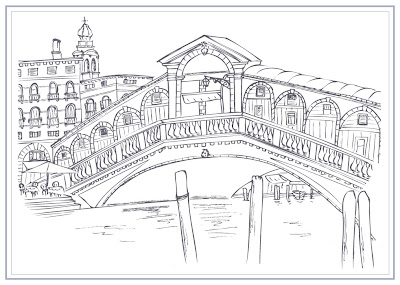 Rialto Bridge line art