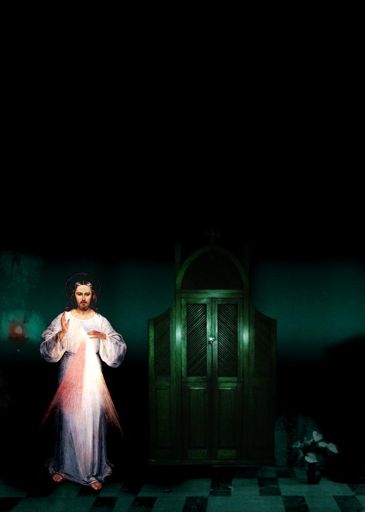 imagen de la divina misericordia y el confesionario fondo verde