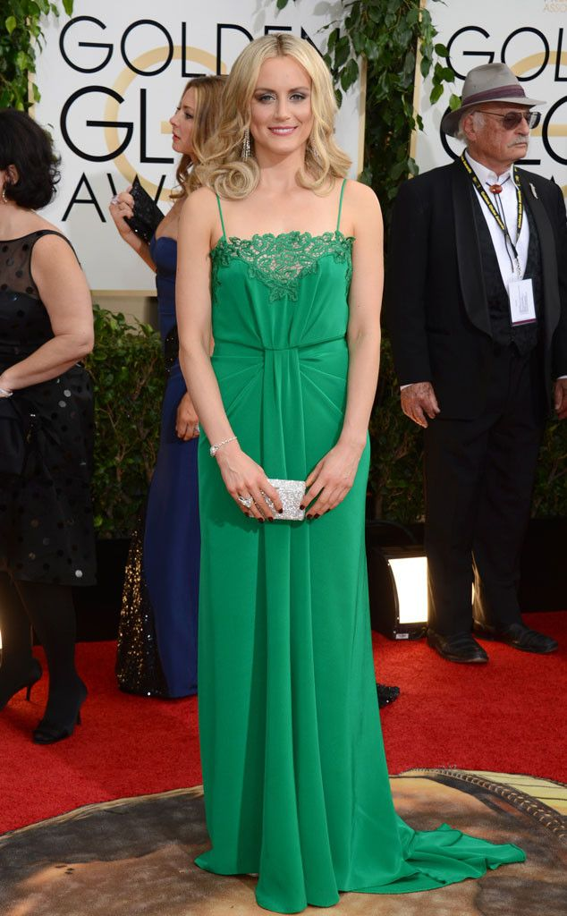 Taylor Schilling in an emerald green Thakoon dress at the 2014 Golden Globe Awards