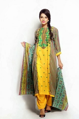 Yellow Printed Salwar Kameez for Women