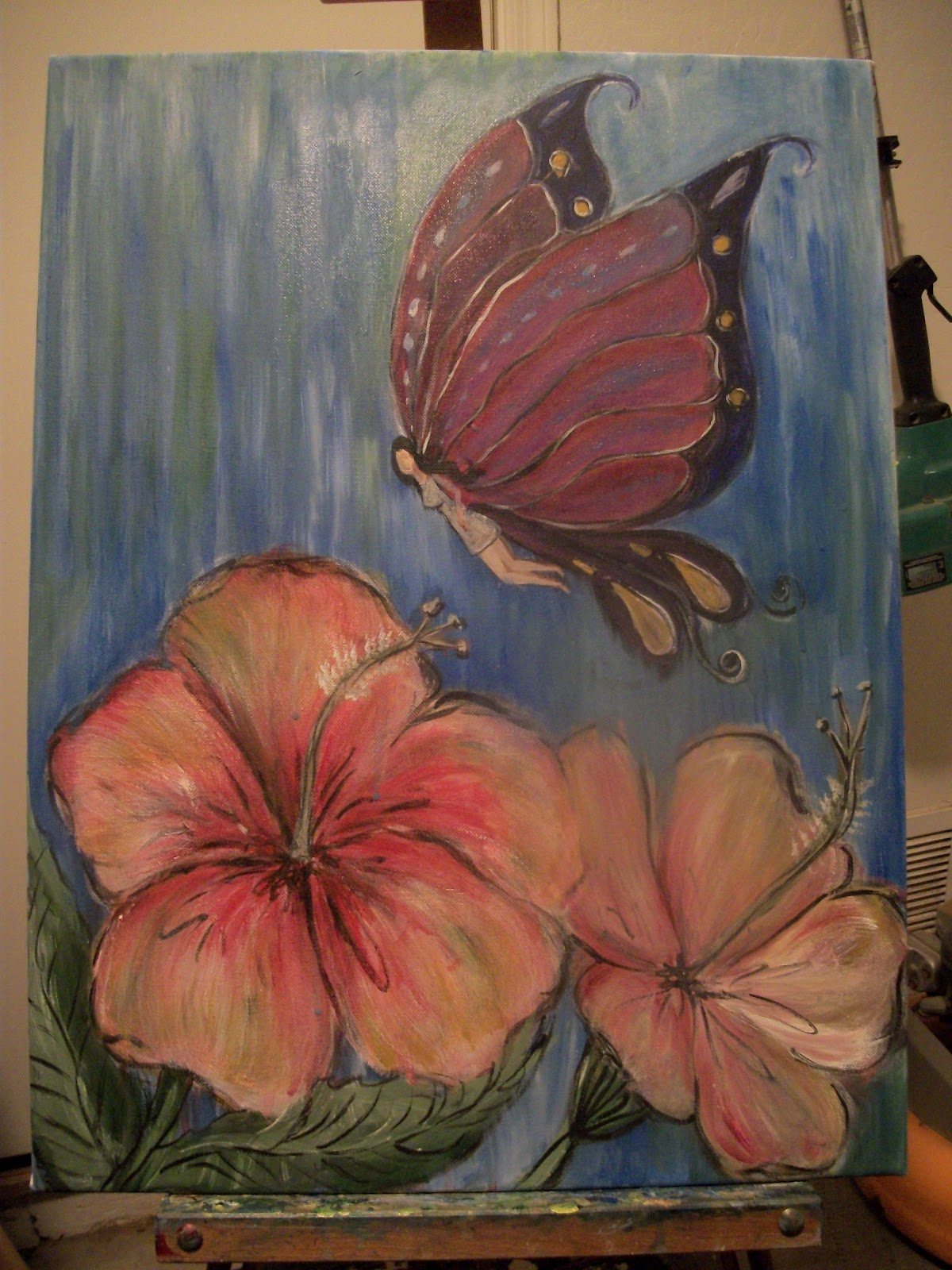 creative stash painting in progress butterfly fairy