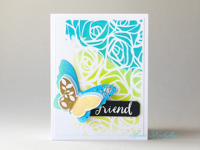 Greeting Card with Friendship Butterflies from Simon Says Stamp by Sweet Kobylkin
