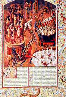 Hellfire, The torments of Hell were vividly spelt out by the Church to discourage Sin. So ghastly was the picture portrayed, that it provided artists with the perfect opportunity to let their imaginations run riot as can be seen from this late medieval German miniature.