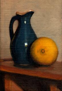 Oil painting of a blue sauce jug beside a lemon.