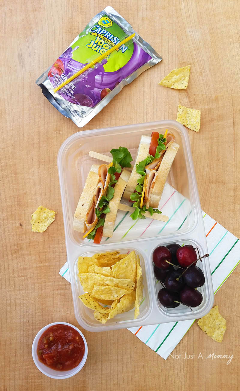 Make Lunch  Easy With Foster Farms; sandwich with an Capri Sun