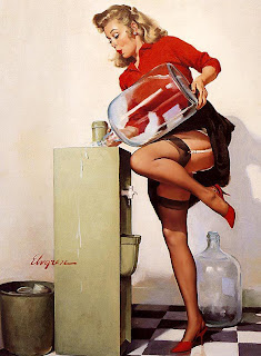 Office watercooler Elvgren 1960s pinup
