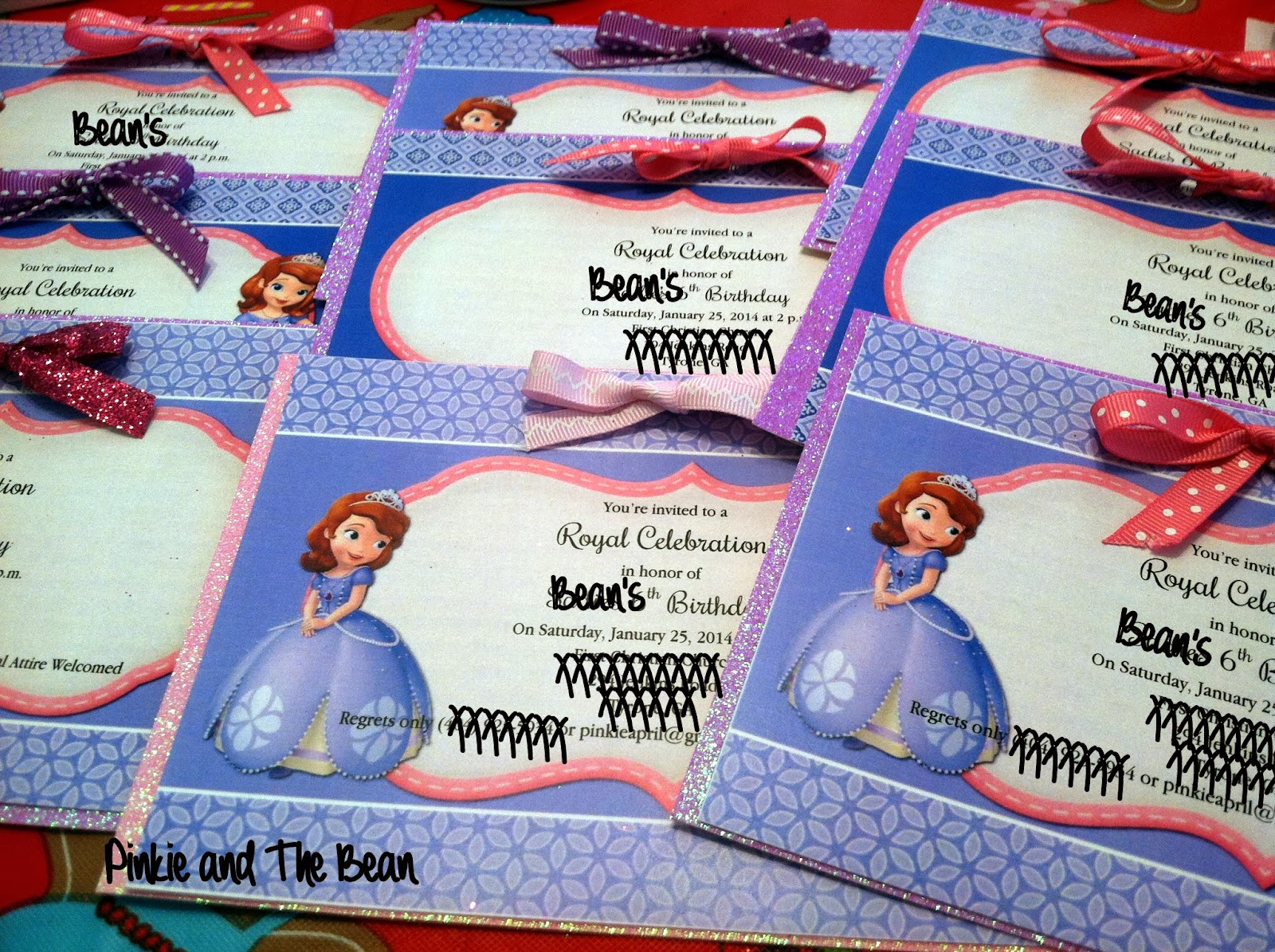 Pinkie bean beans sofia the first birthday party i only had to purchase the sparkly cardstock for the backing paper of our invites and more envelopes using a great coupon at michaels i was able to put stopboris Gallery
