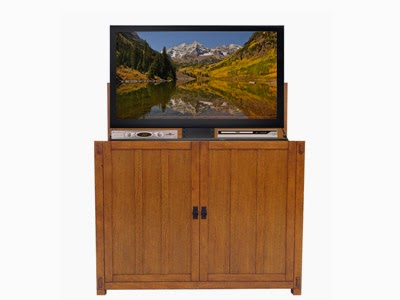 Touchstone Elevate Mission TV Lift Cabinet is beautifully designed in the Arts and Crafts style.