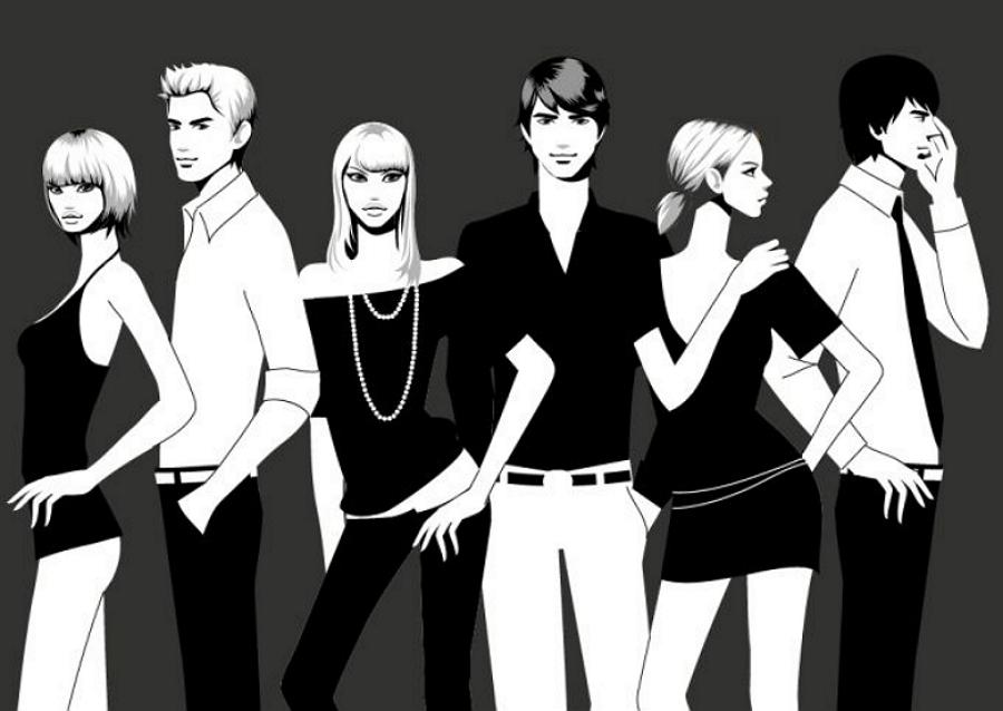 白黒のファッション イラスト Black and white fashion vector