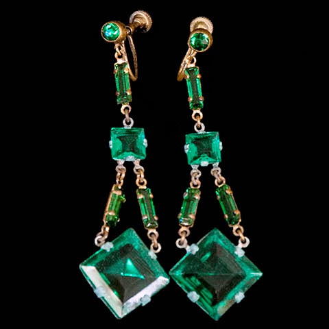 Chechoslovakian Emerald Rhinestone Dangle Earrings