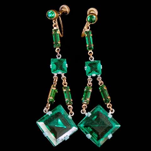 Chechoslovakian Emerald Rhinestone Dangle Earrings