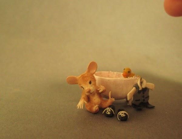 Aleah Klay Studio: Miniature baby mouse w/ bath, rubber duckie ...