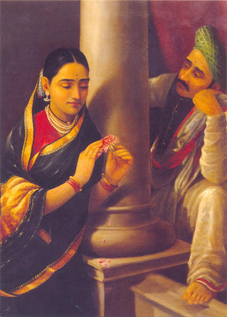 Raja Ravi Varma's Paintings: Tamilnadu Women Talking to his men with shy