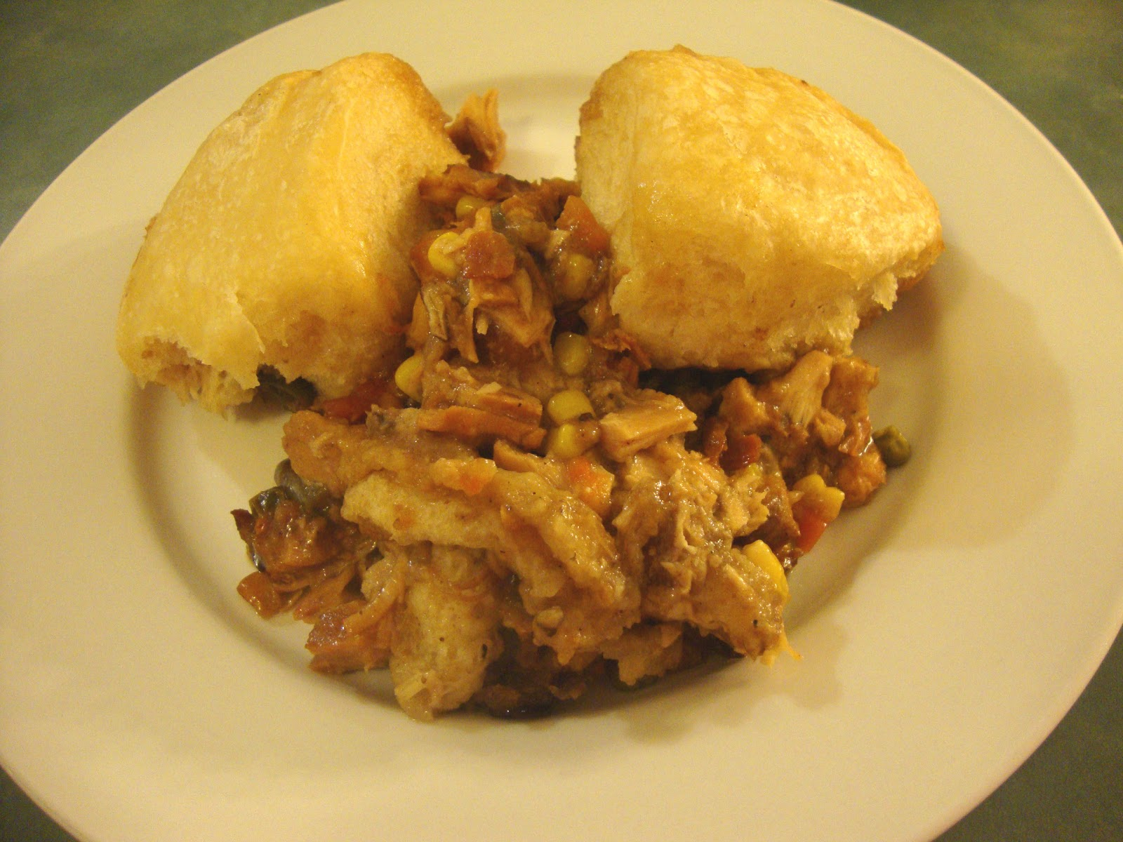 "... Slow Cooker Adventures: Leftover Turkey and ""Dumplings"" Casserole"